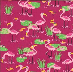 Flamingos on fabric.