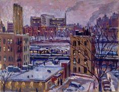 New York City Oil Painting Night Snow Nocturne NYC. Original