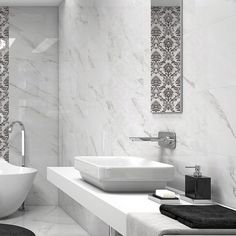 Agora white wall tiles with a beautiful marble effect design will add elegance to any bathroom or kitchen. These contemporary large white tiles have a lovely gloss finish and have been designed to co-ordinate beautifully with the Agora decorative tiles. They offer precision cut rectified edges which means grouts lines can be thinner for an opulent seamless design. Large White Tiles, White Wall Tiles, White Walls, Tile Warehouse, Marble Effect, Decorative Tile, Free Samples, Contemporary, Modern