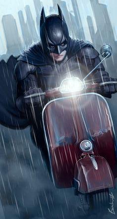 Batman en Vespa Sprint by Guillaume Boucher