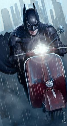 Batman en Vespa Sprint by Guillaume Boucher