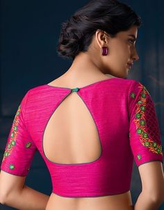 Bookeventz brings to you up-to-the-minute, latest vogue blouse designs! This wedding season get ready to sweep all the guests of their feet as you try on these-trending bridal blouse designs Indian Blouse Designs, Blouse Designs High Neck, Cotton Saree Blouse Designs, Simple Blouse Designs, Stylish Blouse Design, Bridal Blouse Designs, Saree Blouse Patterns, Boat Neck Designs Blouses, Pattern Blouses For Sarees