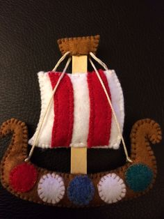 Felt craft ornament Viking long ship