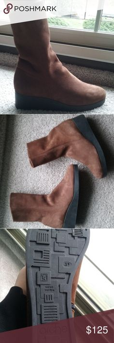 Arche brown suede boots Size 39 only worn one gorgeous brown suede booties that go a little above the ankle. Pristine condition!!!! Arche Shoes Ankle Boots & Booties
