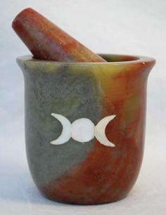 Pearl Inlain Triple Moon mortar and pestle