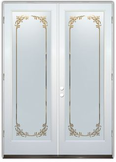 Lenora Border Frosted - Double Entry Doors Hand-crafted, sandblast frosted and 3D carved.  Available as interior or entry door in 8 woods and 2 fiberglass. Slab door or prehung any size, or as glass insert only.  Our fun, easy to use online Glass and Door Designer gives you instant pricing as YOU customize your door and glass!  When you're all finished designing, you can place your order right there online!  Doors ship worldwide from Palm Desert, CA