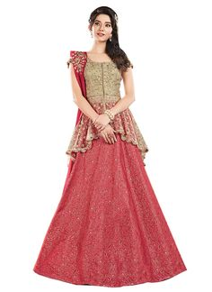 Lehenga blouse designs - Buy Cardinal Red A Line Lehenga Choli online from the wide collection of alinelehenga This Red colored alinelehenga in Art Silk fabric goes well with any occasion Shop online Designer alinele Half Saree Designs, Choli Designs, Lehenga Designs, Blouse Designs, Indian Gowns Dresses, Pakistani Bridal Dresses, Pakistani Dress Design, Pakistani Outfits, Evening Dresses