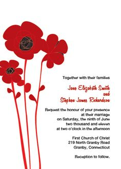 Red and Black poppies Free Flower wedding invitation