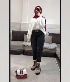 Hijab Fashion Summer, Modest Fashion Hijab, Casual Hijab Outfit, Muslim Fashion, Korean Fashion, Ootd Hijab, Winter Outfits Korea, Casual Winter Outfits, Winter Fashion Outfits