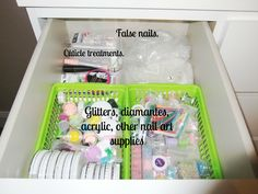 Nail art, polish and tool storage! #Files #EmeryBoard #Tin #Ebay #Polish #Varnish #Nail #Art #Manicure #Organisation #Storage #Collection #Green #Bins #Tubs #Containers #Glitter #Fimo #Canes #Wheels #Acrylic