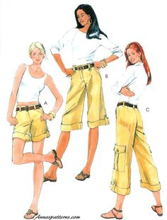 Easy Cargo Shorts Pants Capri Sewing Pattern Summer Spring Hiking Patch Pocket Belted 5633 12-20