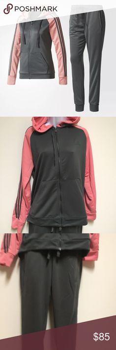 Adidas pink&gray Tracksuit Pants And Top New with tags women's  ADIDAS RE-FOCUS TRACK SUIT SET  100% Authentic  Product details:  Hoodie: Kangaroo pockets; Pants: Front welt pockets  Hoodie: Full zip; Drawcord-adjustable hood; Raglan sleeves Hoodie: 3-Stripes on sleeves; adidas brandmark on upper left chest Hoodie: Full zip with drawcord-adjustable hood; Raglan sleeves Pants: Drawcord-adjustable elastic waist; Ribbed cuffs Pants: 3-Stripes on legs; adidas brandmark below left pocket Slim fit…