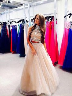 e6e752c5779 two pieces prom dress high neck beaded long brown pageant evening party  gowns Indian Prom Dresses