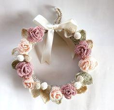 ハンドメイド レース編みのリース20cm ピンク薔薇 インテリア 雑貨 Handmade interior goods ¥2600yen 〆05月08日