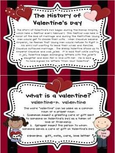 Teach your students about the history of Valentine's Day and define a valentine.