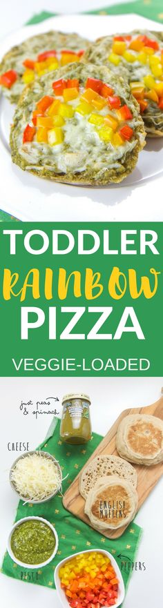 This Veggie-Loaded Toddler Rainbow Pizza is a fun and colorful way to get even the pickiest toddlers to eat their veggies!