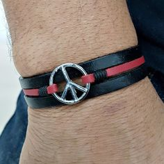 Pulseira Masculina Feminina Bracelete Couro Simbolo Paz mens bracelets fashion style cocar brasil