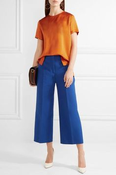 Orange hammered silk-satin Button-fastening keyhole at back 100% silk Dry clean