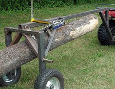 ATV Log Moving Arch, by J. Could use the gator! Metal Projects, Welding Projects, Woodworking Plans, Woodworking Projects, Woodworking Beginner, Intarsia Woodworking, Woodworking Logo, Log Trailer, Trailer Plans