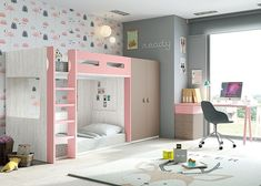 Habitación infantil con litera de 2 camas con base a suelo y armario.