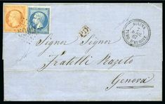 Sulina : 1867 folded entire from Sulina to Genoa bearing Empire 1862 issue 20 c. blue and 40 c. orange tied by very clear '5099' gros chiffres in black, with cogwheel 'SULINA / TURQ.D'EUROPE-7 AVRIL 67' datestamp alongside. Small red framed 'PD' cachet and, on reverse, 'Constantinople / Turquie' transit cds (April 9) and 'Genova' arrival cds. An attractive and extremely rare cover. Signed Nakri.  For sale in our October 11th, 2018 online auction Orange Tie, Genoa, Ottoman Empire, Auction, Place Card Holders, Blue
