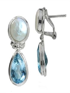 Topaz and pearl silver earrings