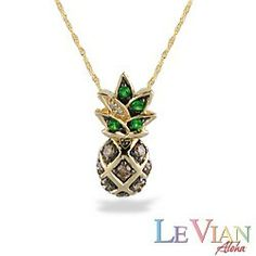 Yellow Gold Le Vian Aloha Collection Pineapple Pendant with Diamonds (Chain Included) - New From Na Hoku - #hawaiian and #island #lifestyle #jewelry