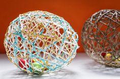 Homemade Easter gift kids basket fill yarn eggs decorate glitter glue
