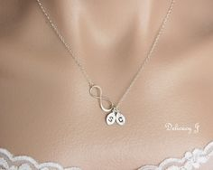 Personalized infinity necklace initial necklace TWO by DelicacyJ, $30.00