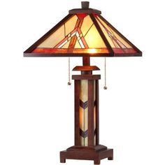 Chloe Lighting Anton Tiffany-Style 3-Light Mission Double Lit Wooden Table Lamp with 15 inch Shade, Multicolor