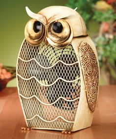 Loving this Snow Owl Metal Fan on #zulily! #zulilyfinds