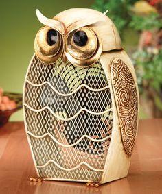 Loving this Snow Owl Metal Fan on #zulily! #zulilyfinds