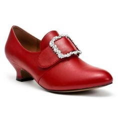 """""""Kensington"""" 18th Century Leather Shoes (Red)  Looks like the kind of shoe that would be cute for normal wear and also mostly period-correct with historical costumes."""