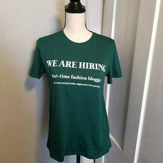 afadbf0b New Zara Womens Graphic T-Shirt Size S Green Short Sleeve Fashion Blogger  Slogan #