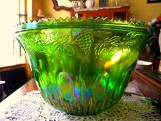 Indiana Glass Punch Bowl - Antique Carnival Glass