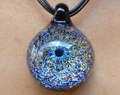 Glass pendant necklace , galaxy pendant , space glass