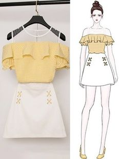 Fashion Drawing Dresses, Fashion Illustration Dresses, Korean Fashion Dress, Kpop Fashion Outfits, Girls Fashion Clothes, Korean Outfits, Mode Outfits, Cute Casual Outfits, Pretty Outfits