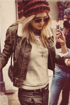 leather jacket + beanie.