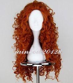 "30"" Orange New MERIDA BRAVE Movie Disguise Long Curly Anime Cosplay Wig"