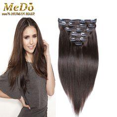 7A 100% 브라질 처녀 레미 클립 머리 확장 7/10 개/세트 전체 머리 자연 갈색 스트레이트 클립 인간의 머리 확장