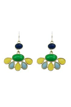 """Fantastic pair of colorful floral inspired dangles with green, light blue, yellow, and navy colored stones throughout. These dangles are the perfect size to become your everyday earrings to match any outfit you have. They can be paired with a neutral basic outfit to add a bit of pizazz! Or match them with a colorful top or dress you have! They are approximately 1.25"""" wide at their widest point and are 1.25"""" total length. Big enough to make a statement, but small enough to become your new…"""