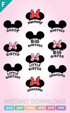 disney crafts Family Trip SVG Files, Mouse Family SVG Files, Mouse Ears Cutting File, Ribbon Mouse Little Sisters Disney Diy, Disney Crafts, Disney Trips, Fuentes Disney, Alfabeto Disney, Stylo 3d, Cursive Alphabet, Disney Designs, Mickey Minnie Mouse