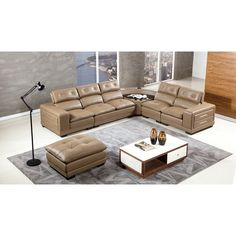 American Eagle Furniture Collection Sectional Sofa with Left Arm Facing Chair, Armless Loveseat, Corner, Armless Chair, Right Arm Facing Chair and Ottoman in Taupe Living Room Sectional, Modern Sectional, Corner Sectional, Sectional Sofa, Leather Furniture, Home Furniture, Leather Reclining Sectional, Leather Ottoman, Living Room Sets