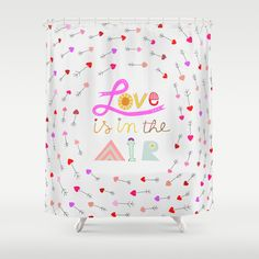 love arrows 'love is in the air' by Artibonita shower curtain pink red purple hearts