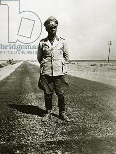Credit: Field Marshal Erwin Rommel (1891-1944) on the road to Cairo, 1942 (b/w photo), German Photographer (20th Century) / Private Collection / Peter Newark Military Pictures / The Bridgeman Art Library