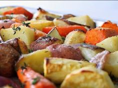 Roasted vegetables with truffle oil: red potatoes, carrots, parsnips and onions