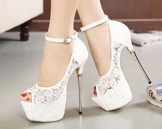open toe white lace platform heels - Google Search