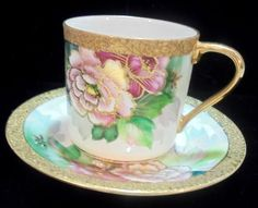 Teacup and Saucer DEMI CHUBU Wild Roses, Wide Gold Trim Stunning #Chubu
