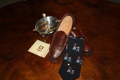 English Saxone Valentino tie and a silver caviar cooler early 40s