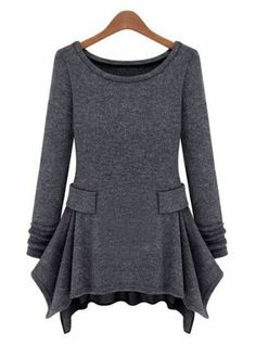 Dark Grey Long Sleeve Ruffles Pockets Dress pictures